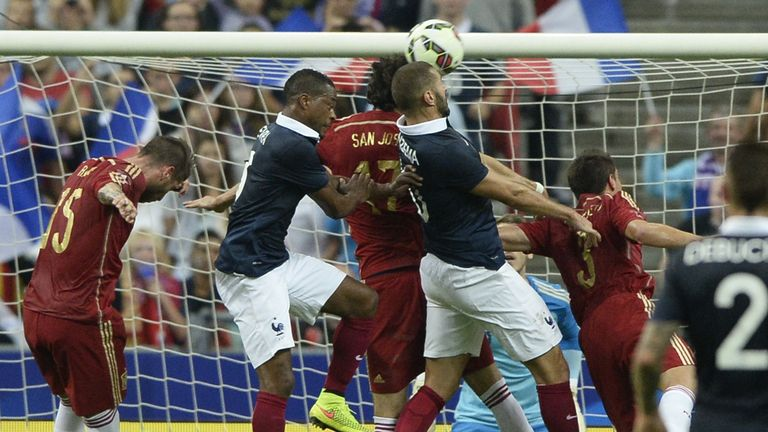 Benzema: Gets up for a header