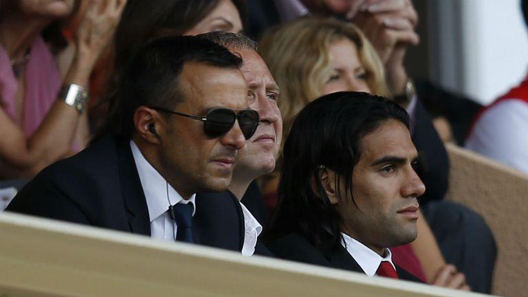 Mendes watches a match alongside Radamel Falcao