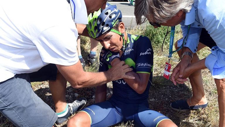 Nairo Quintana fractured his shoulder blade in his second crash in less than 24 hours