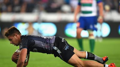 Rhys Webb scored the Ospreys' fourth try at the death in Italy