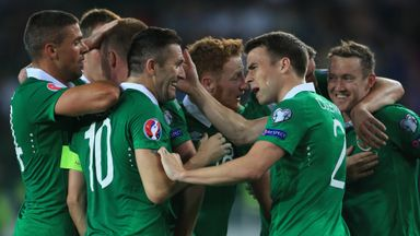 Aiden McGeady (r): Celebrates his winning goal against Georgia