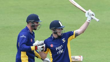 Ben Stokes (R) celebrates after reaching 150 during the Royal London Cup semi-final