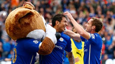 Leicester celebrate completing a 5-3 comeback win over Man United