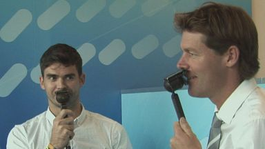 Jimmy Anderson joins Nick Knight in the Sky Sports commentary box