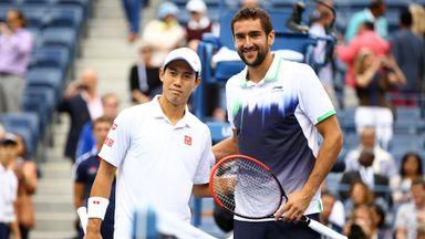 Kei Nishikori (L) and Marin Cilic pose prior to the US Open final 2014