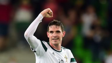Kyle Lafferty: Striker celebrates at the final whistle