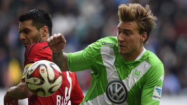 Nicklas Bendtner: In action for Wolfsburg on Sunday