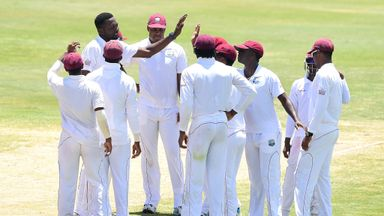 Sulieman Benn: West Indies left-arm spinner celebrates one of his five wickets on day four