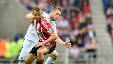 Lee Cattermole and Gylfi Sigurdsson battle for the ball