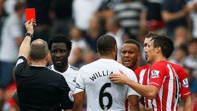 Wilfried Bony: Swansea striker sees red against Southampton