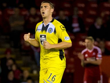 St Mirren's Callum Ball celebrates after scoring