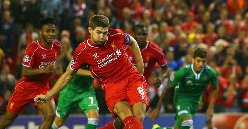 Steven Gerrard slots home the winner for Liverpool from the spot
