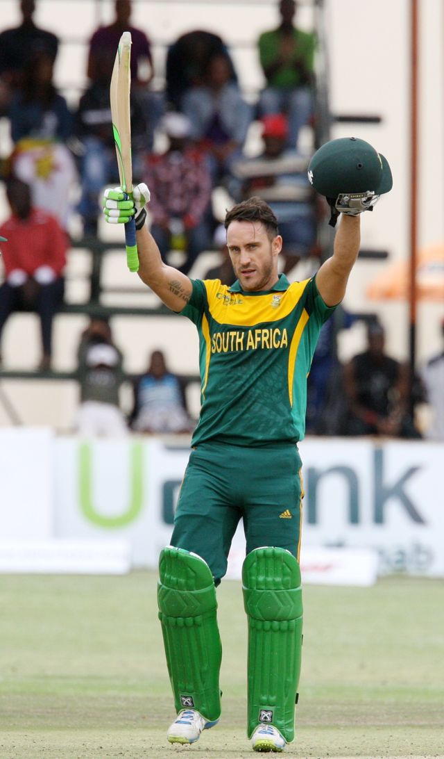 South Africa's batsman Faf du Plessis celebrates his third ODI century