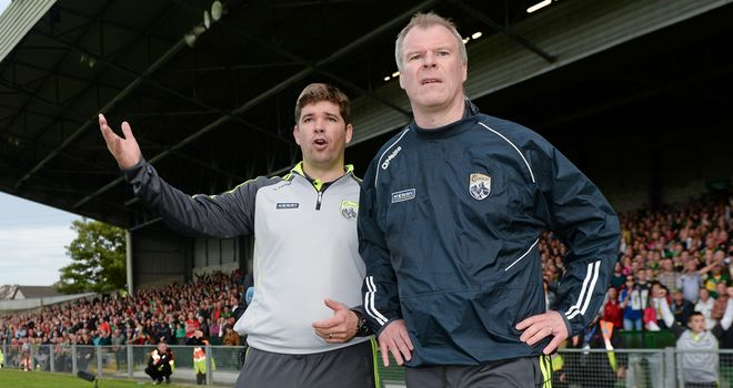 Eamonn Fitzmaurice and Kerry selector Diarmuid Murphy during the closing stages of their win over Mayo