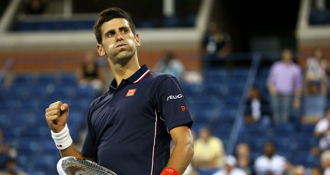 Novak Djokovic celebrates defeating Andy Murray at the US Open