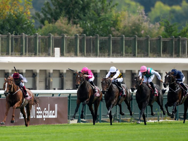Dettori and Ruler Of The World stretch their rivals out to score in the Prix Foy.