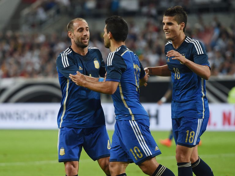 Sergio Aguero celebrates after scoring for Argentina against Germany
