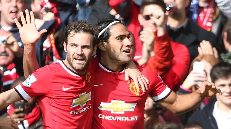 Radamel Falcao: Celebrates with Juan Mata after netting the winner against Everton