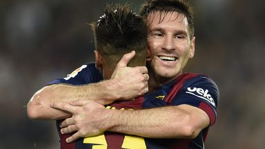 Lionel Messi and Neymar celebrate