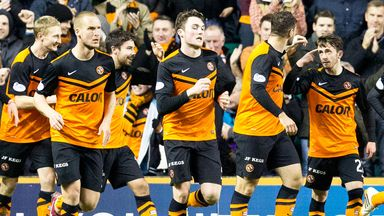 Dundee United celebrates Ryan Dow's goal in the match with Hibs