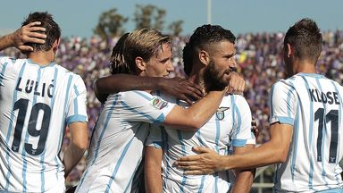 Lazio celebrate Senad Lulic's goal against Fiorentina