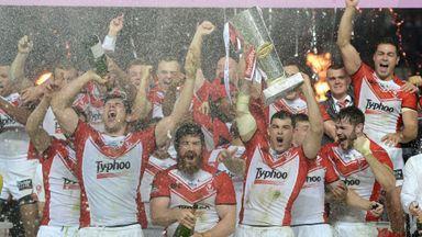 St Helens celebrate winning the 2014 Super League Grand Final.