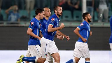 Giorgio Chiellini: Celebrates after scoring against Azerbaijan