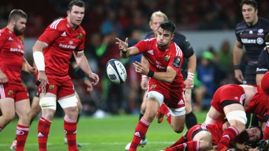 Munster's Conor Murray spins out a pass
