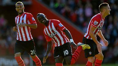 Sadio Mane: Celebrates his first goal for Southampton
