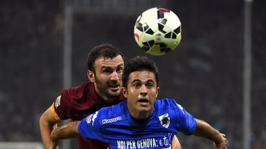 Vasilis Torosidis: Fights for the ball with Sampdoria's Eder