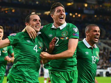 John O'Shea and Stephen Ward celebrate the late equaliser against Germany