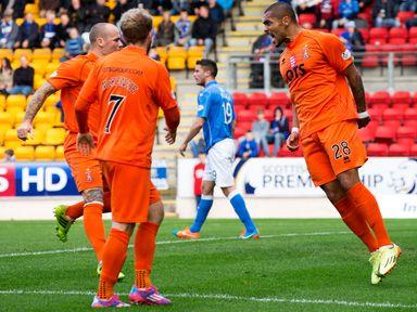 Kilmarnock's Josh Magennis (right) celebrates having scored the equaliser to make it 1-1