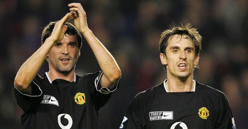 Gary Neville (r): Concerned that Liverpool could pip his beloved United