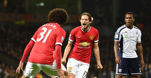 Manchester United's Daley Blind celebrates his equaliser, which earned a point for the visitors