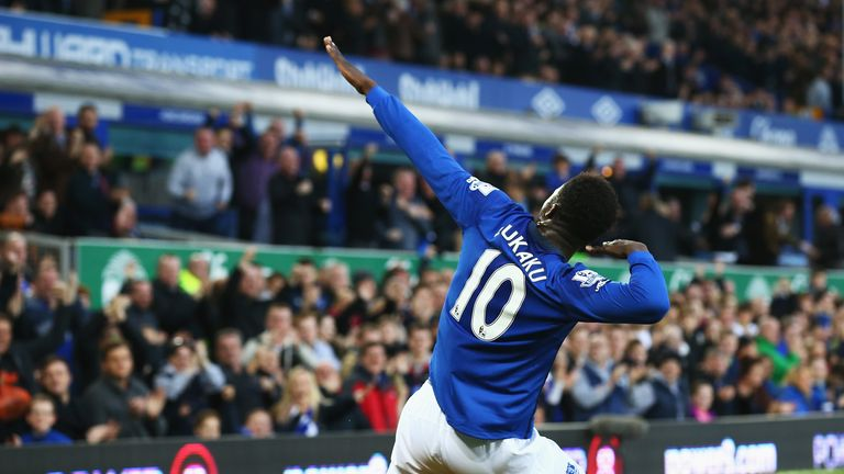Romelu Lukaku celebrates scoring the opening goal for Everton