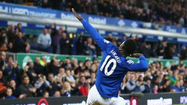Romelu Lukaku celebrates scoring the opening goal for Everton