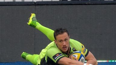 James Wilson of Northampton Saints scores their first try against Saracens