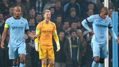 Manchester City goalkeeper Joe Hart (centre) shouts at his defence after conceding the second goal of the match during the  Champions League Group E match