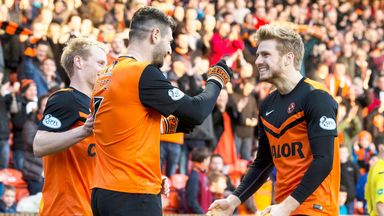 Nadir Ciftci (c) celebrates Dundee United's opening goal at Tannadice