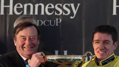 Henderson and Barry Geraghty receive the trophy after Triolo D'Alene's victory in the 2013 Hennessy.