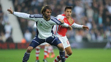 Georgios Samaras (L) , Alexis Sanchez (R), West Brom v Arsenal, Premier League, The Hawthorns