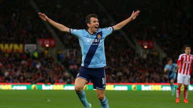 Stewart Downing of West Ham celebrates scoring
