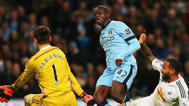 Yaya Toure scored his second Premier League goal of the season to secure Man City's win over Swansea