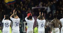 Fiorentina players acknowledge their fans at full-time