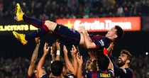 Lionel Messi: celebrates after setting goalscoring record