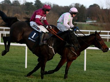 Djakadam (right) races clear of the last ahead of second placed Bright New Dawn