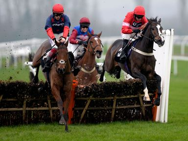 Old Guard (left) jumps the last ahead of Mick Jazz