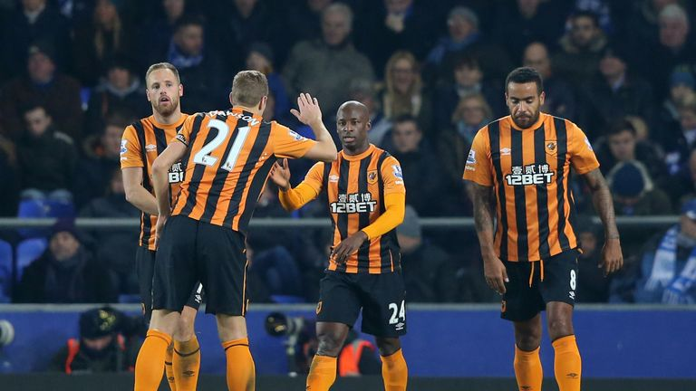 Hull City players celebrate Sone Aluko's equaliser at Everton