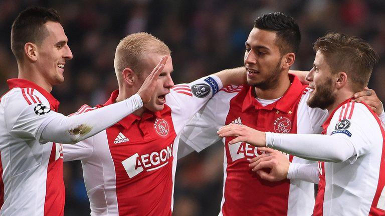 Lasse Schone: Celebrates his goal with Ajax team-mates