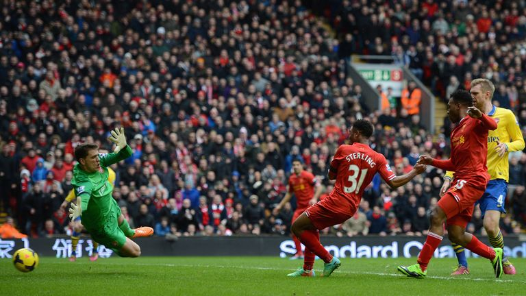 Raheem Sterling scored Liverpool's third goal in a 5-1 win in February 2014